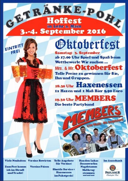 Getränke Pohl - Hoffest mit der Partyband Members